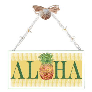 Yellow Aloha Pineapple Varnished Canvas Sign