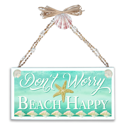Don't Worry Beach Happy Varnished Canvas Sign