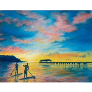 Days End At Hanalei Pier Giclée