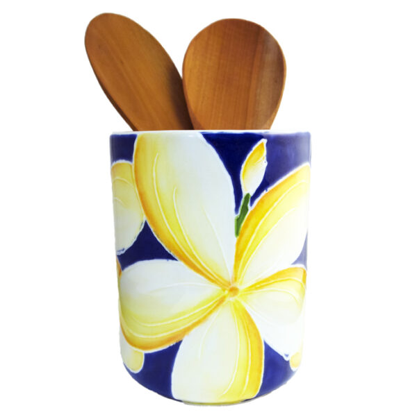 Utensil Holder Blue Plumeria