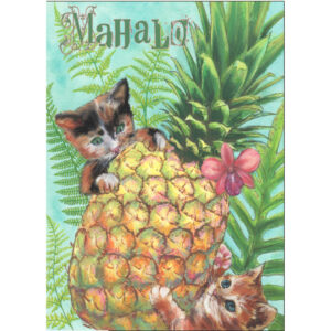 Mahalo Pineapple Greeting Card