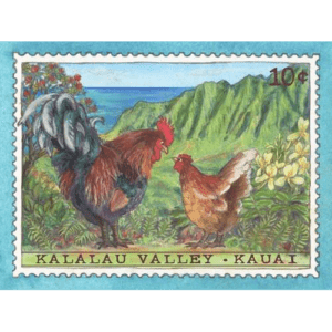 Kalalau Valley Chickens Kauai Stamp Print