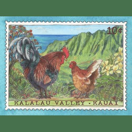 Kalalau Valley Chickens Kauai Stamp Print
