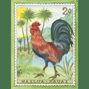 Wailua Rooster, Kauai Stamp Print