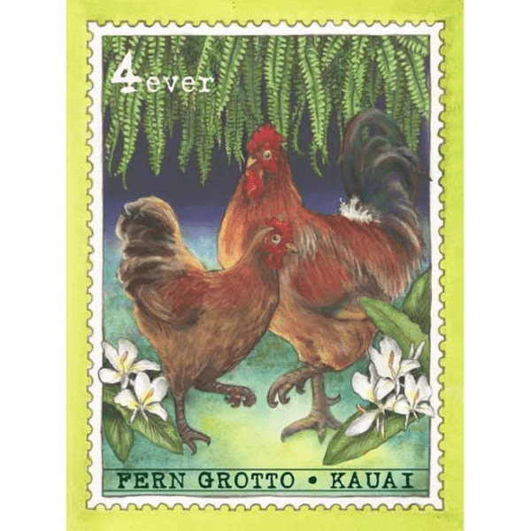 Fern Grotto Chickens Kauai Stamp Print