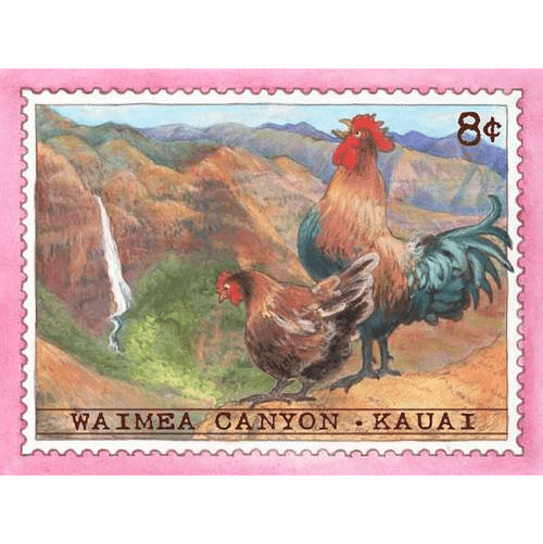 Waimea Canyon Chicken Stamp Note Card