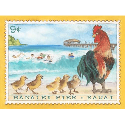 Hanalei Pier Kauai Chickens Stamp Print