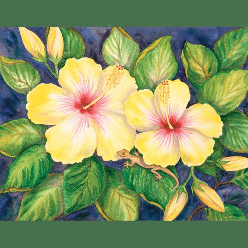 Hibiscus & Gecko Print
