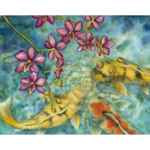 Koi Among Orchids Giclée