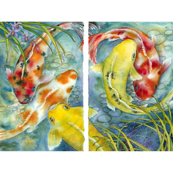 Koi & Orchid Diptych