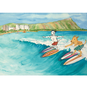 Surf Dogs Oahu Print