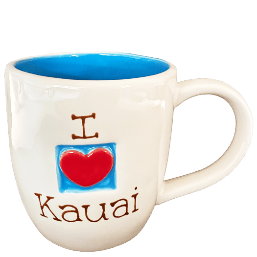 I Love Heart Kauai Blue Mug