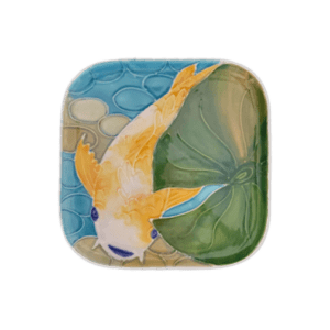 Tropical Koi Square Round Plate