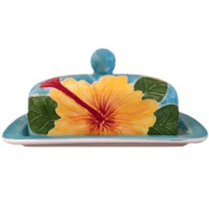 Yellow Hibiscus Butter Dish