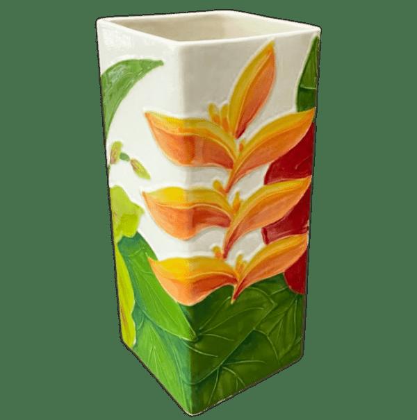 Tropical Bouquet II Square Vase