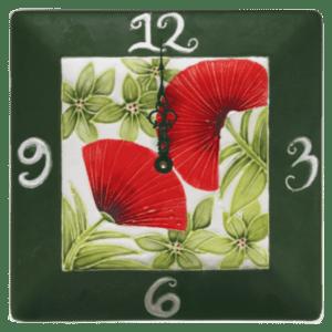 10 Square Ohia Lehua Plate Clock