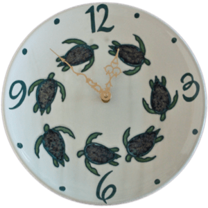 11 Celadon Turtle Plate Clock Round