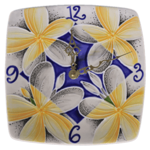 Blue Plumeria Plate Clock Square