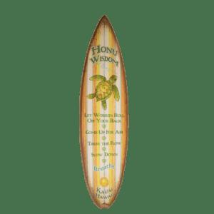 Honu Wisdom - Striped Wooden Surfboard Sign