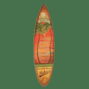 Kaua'i Palm Wisdom - Wooden Surfboard Sign