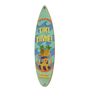 Tiki Time - Wooden Surfboard Sign