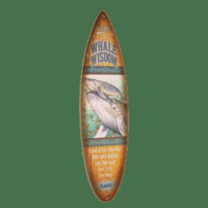 Whale Wisdom Wood Surfboard Sign