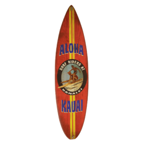 Surfboard Red with Yellow Stripes
