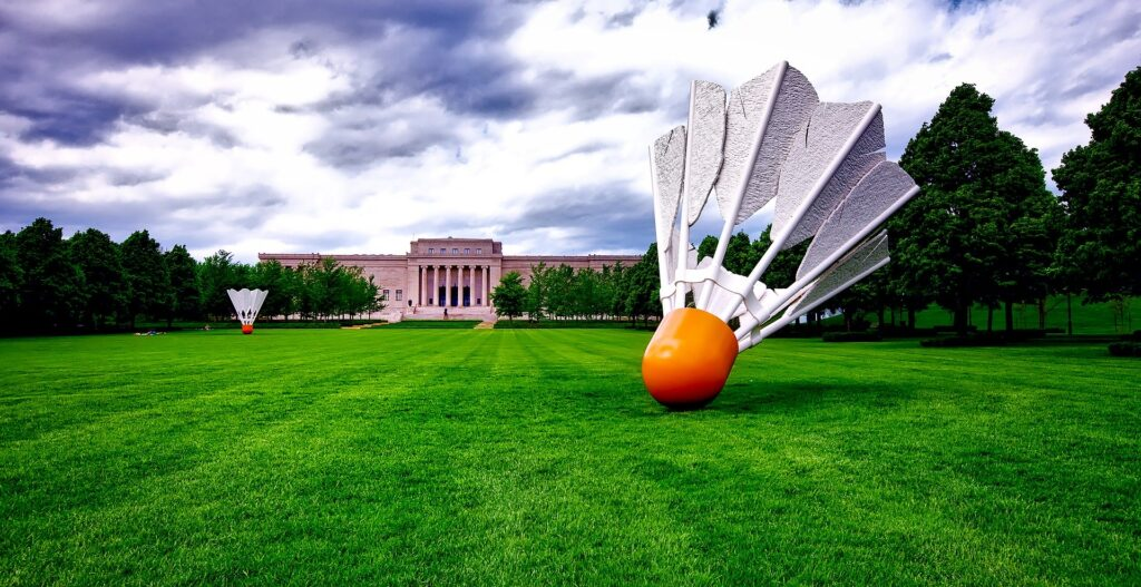 The Donald J. Hall Sculpture Park at the Nelson-Atkins Museum of Art in Kansas City, featuring the famous giant shuttlecocks, or birdies. The sculpture park is pet-friendly!