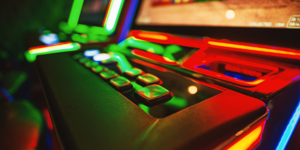 Gambling machine at casino club. Shallow depth of field.