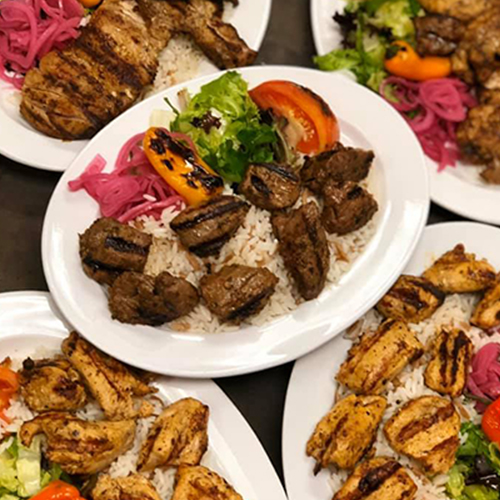 Tender Lamb shish kebabs and Chicken shish kebabs