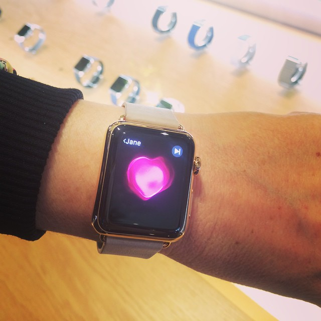 Luxe time keeping with a lot of tech thrown in. Oops I chose the £13.5k #AppleWatch to try on #rosegold #want #dreaming