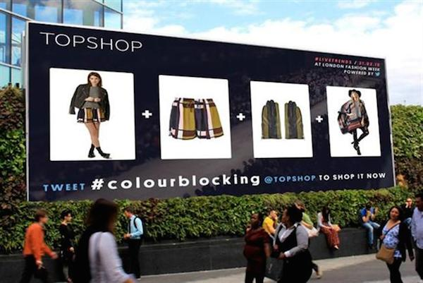 Topshop Unique's live stream show outdoor posters at LFW