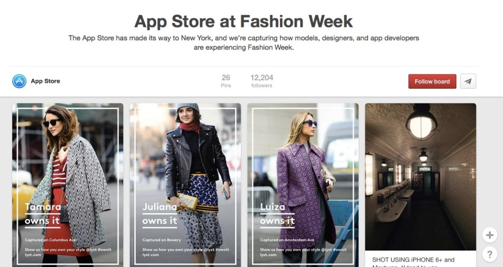 Apple's App store on Pinterest, launched for NYFW