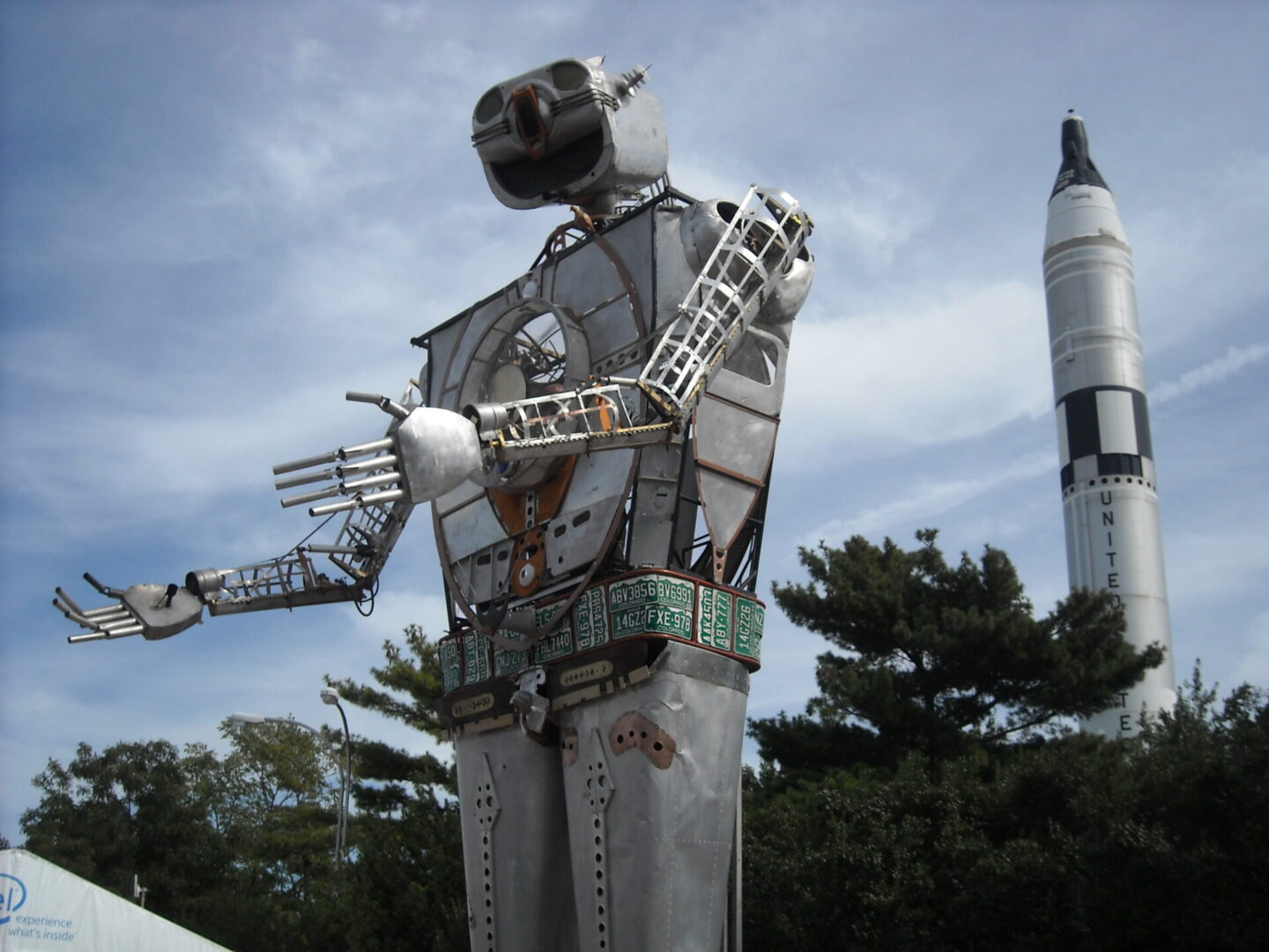 A giant robot greets visitors at The Maker Faire, where technology, art, and DIY culture intersect.