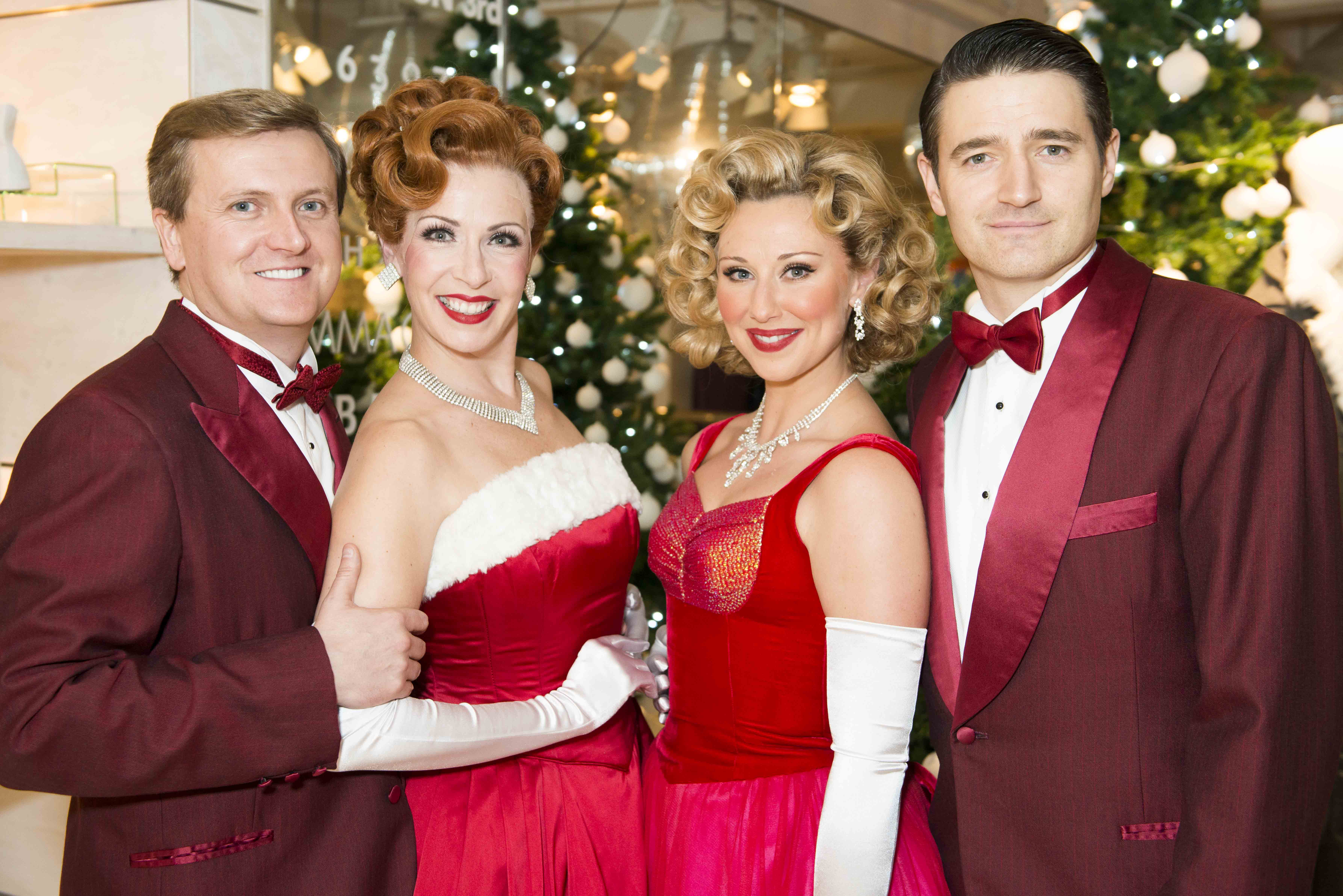 Aled Jones, Tom Chambers, Wendi Peters, Graham Cole and the Cast of White Christmas The Musical perform the London Premiere of the title song outside a snowy Fenwick of Bond Street, sixty years after the iconic film starring Bing Crosby premiered, and 10