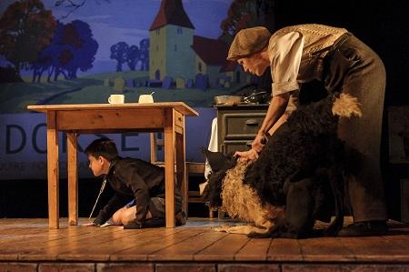 3. Alex Taylor-McDowall (William) and Elisa de Grey (Puppeteer for Sammy the dog) in Goodnight Mister Tom 2015 Credit Dan Tsantilis.jpg