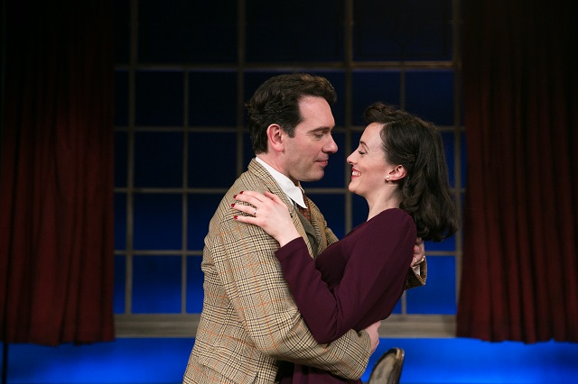 Lynden Edwards as Peter Kyle and Hedydd Dylan as Patricia Graham in Flare Path. Credit Jack Ladenburg