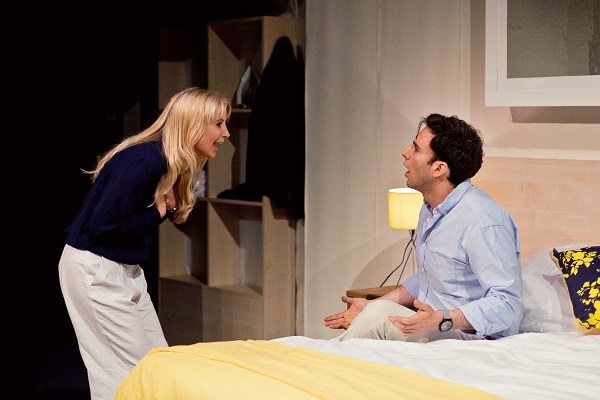 Carley Stenson (Bobbi) and Charles Dorfman (Guy) in Buckland Theatre Company's Some Girl(s) at Park Theatre. Credit Claire Bilyard (15)