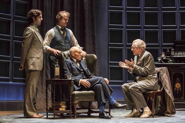 Ian McKellen as Spooner, Patrick Stewart as Hirst, Owen Teale as Briggs, Damien Molony as Foster in No Man's Land. Credit Johan Persson.jpg
