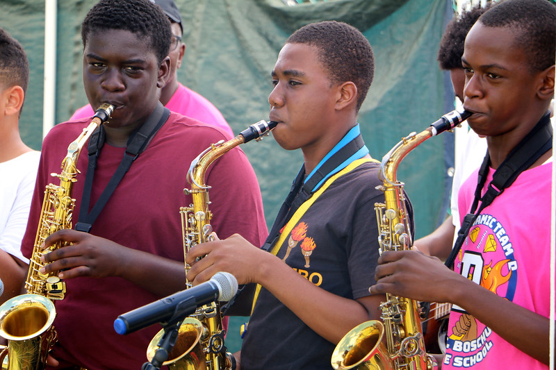 Young boys playing brass intrusments