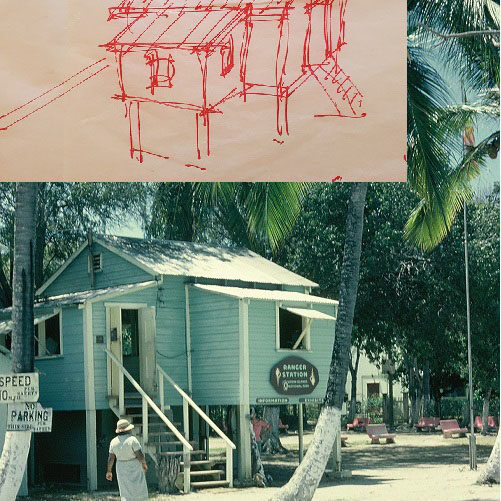 Inspired By The Past :  The playground playhouse is modeled after the first VINP ranger station.