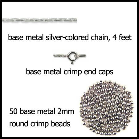 Base Metal silver colored French Necklace Supply Kit