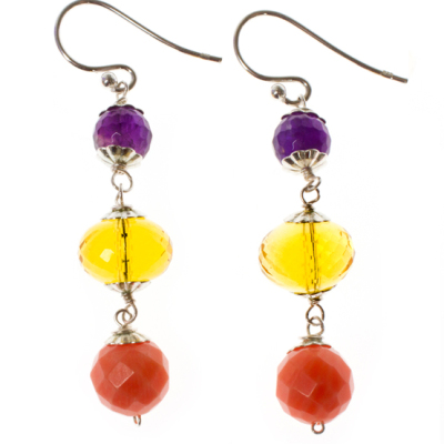 Beginner Earrings with Gemstone Drop Design