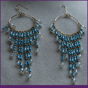 Chandelier Earrings with Blue Crystals from Specific Skills Jewelry Class