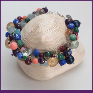 Cluster Bracelet with Mixed Gemstones from Specific Skills Jewelry Class