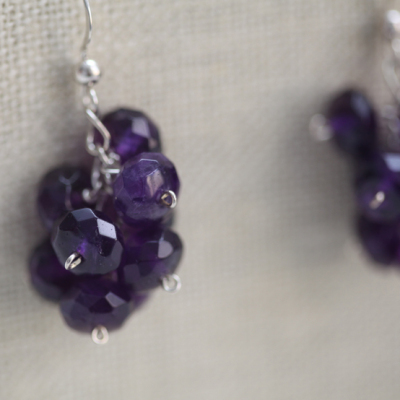 Cluster Earrings with Amethyst and Silver fron Intermediate Earrings Class