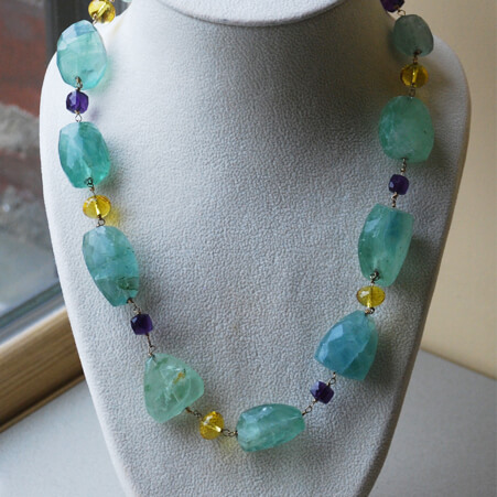 Connected Stones Necklace with Fluorite, Citrine and Amethyst from Specfic Skills Class