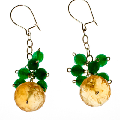 Intermediate Class Earrings with Citrine and Emerald Cluster Design