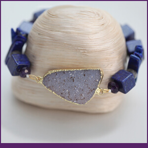 Bracelet Design with Drusy, Gold and Lapis Lazuli from Specific Skills Jewelry Class