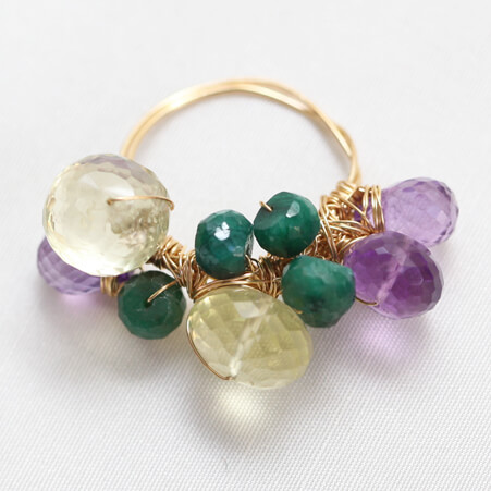 Cluster Ring Design with Gemstones from Specfic Skills Class
